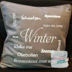 kussenhoes antraciet winter