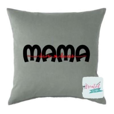 kussenhoes mama met namen, kussenhoes mama, kussenhoes grijs 50x50 cm