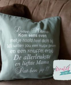 kussenhoes oudgroen lieve mama of lieve oma