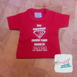 mini shirtje rood papa superheld logo