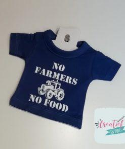no farmer no food shirt, mini shirt blauw