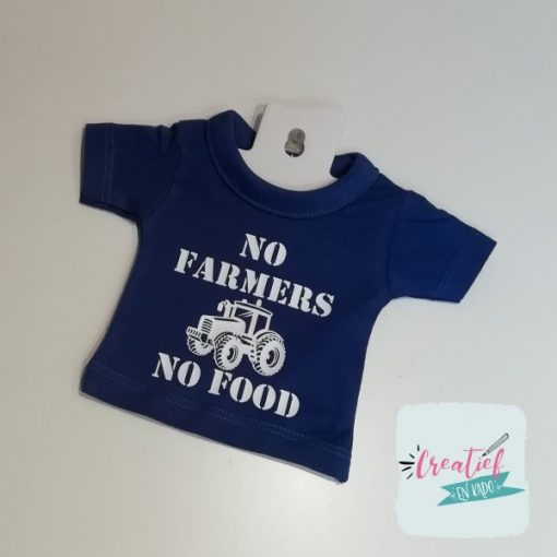 no farmer no food shirt, mini shirt blauw