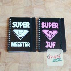 notitieboekje zwart superjuf en supermeester