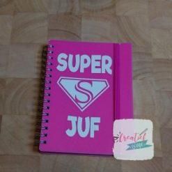 notitieboekje roze superjuf