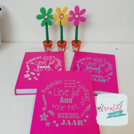 notitieboek juf roze