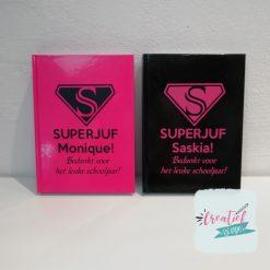 notitieboek superjuf zwart, notitieboek superjuf roze