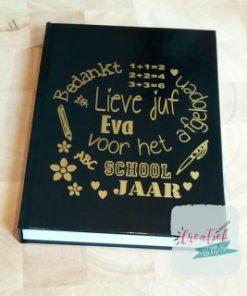 notitieboek juf zwart schooljaar sommetjes