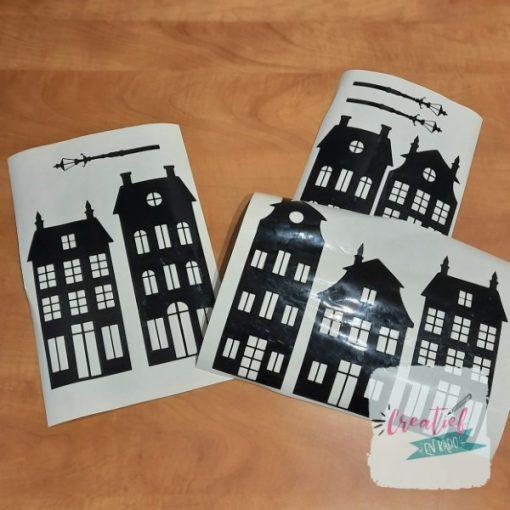 raamstickers huisjes, thema straatje