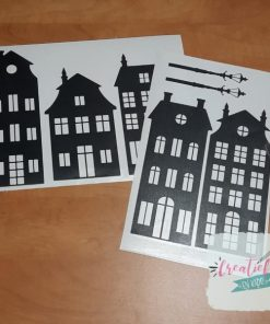raamstickes huisjes, thema straatje huisjes