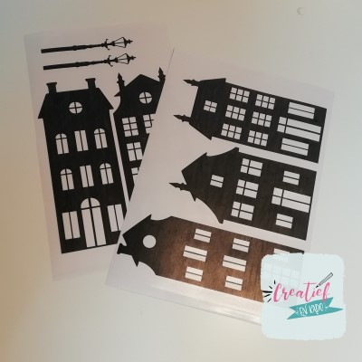 raamsticker huisjes zwart