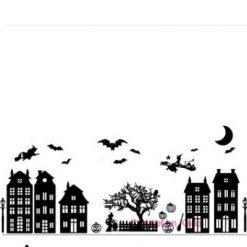 raamsticker Halloween straatje compleet