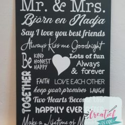 tekstbord Mr & Mrs, cadeau trouwen