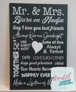tekstbord Mr & Mrs, cadeau trouwen