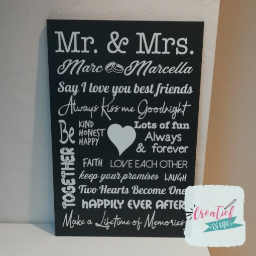 tekstbord Mr & Mrs, tekstbord trouwen