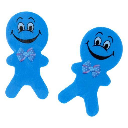 gezicht poppetje blauw, traktatie jongen, traktatie meisje