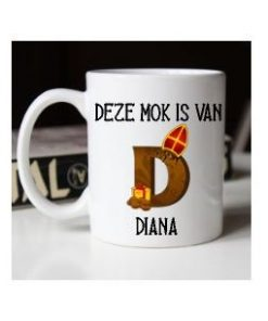 mok chocolade letter mijter, mok Sinterklaas, beker Sinterklaas