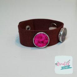 bruine foto armband rozen