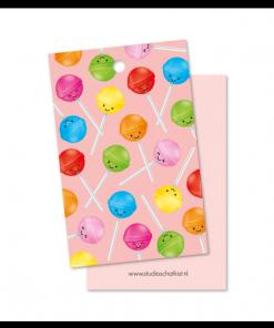 kadolabel lolly patroon roze, kadolabel snoep, studio schatkist