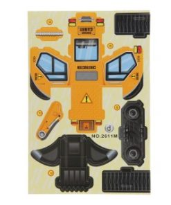 3d bouwvoertuig geel