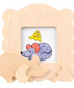 kleur je eigen houten fotolijst muis, DIY creatief