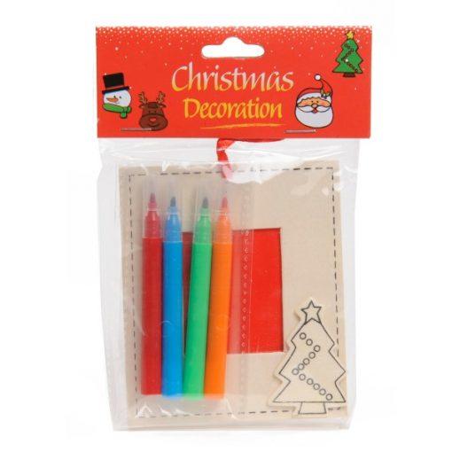 kleur je eigen kerst fotolijstje,, kerstboom, Kerst DIY
