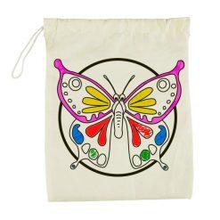 kleur je eigen knikkerzakje vlinder ingekleurd