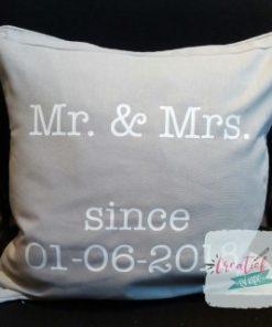 kussenhoes Mr&Mrs, kussenhoes trouwdatum