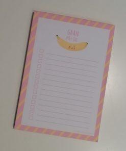 notitieblok gaan met die banaan