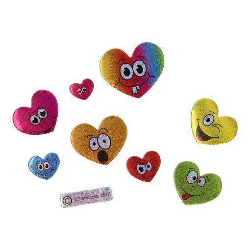 gezicht stickers, stickervel glinsterende gezichtjes, uitdeelkadootjes, emotions, smiley