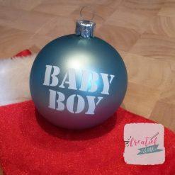 kerstbal blauw, kerstbal met naam, kerstbal jongen, kerstbal geboorte jongen