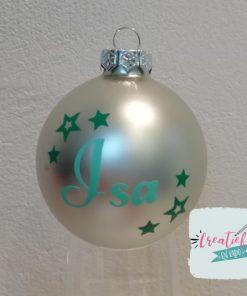 kerstbal zilver met naam en kleine sterretjes