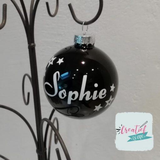 kerstbal zwart met naam en kleine sterretjes, kerstbal met naam, zwarte kerstbal