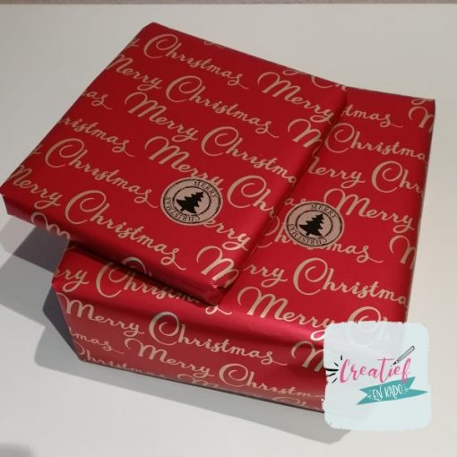 ronde sticker merry christmas, kadosticker kerstmis