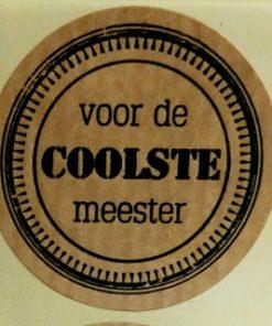 sticker coolste meester, sluitzegel meester, kado sticker voor de meester