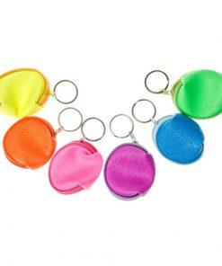 sleutelhanger portemonnee neon, neon portemonnee, neon sleutelhanger, meiden traktatie, neon traktatie, uitdeelkadootje