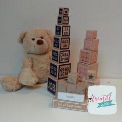 houten blokken geboorte toren XL, houten kraamcadeau, kraamcadeau met naam