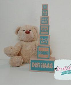houten blokken geboorte toren XL, kraamcadeau met naam, houten geboorte kado,