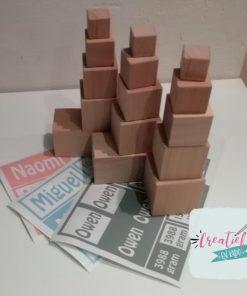 houten blokken geboorte toren, kraamcadeau met naam,