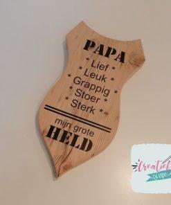 houten schild papa mijn grote held, cadeau vaderdag