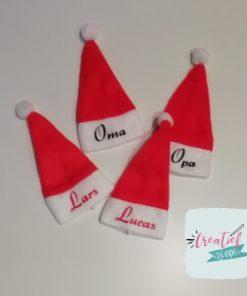 mini kerstmuts met naam, kerstmuts rood