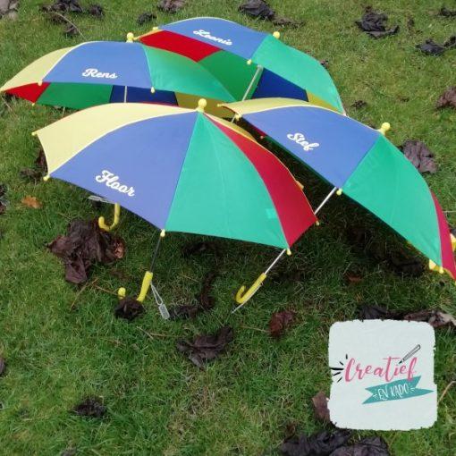paraplu met naam kind, kinderparaplu met naam,