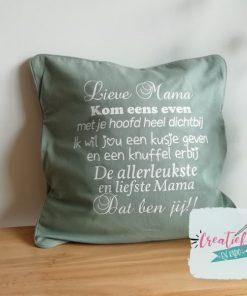 kussenhoes mama tekst, kussenhoes oud groen, kussenhoes Moederdag cadeau