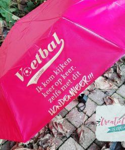 plu met naam roze, paraplu voetbalmoederroze paraplu bedrukt