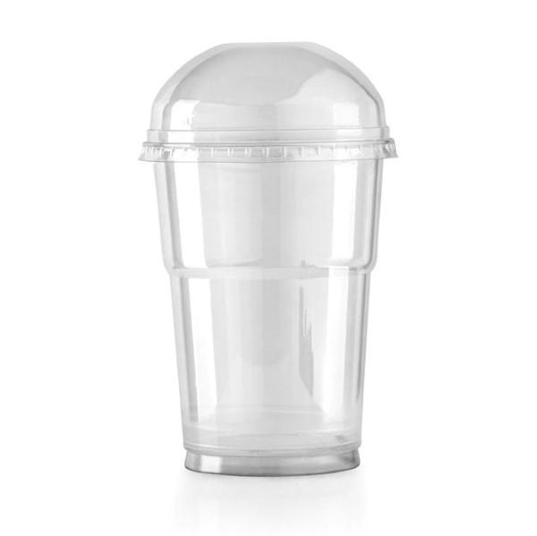 plastic beker met deksel, transparante beker met deksel, uitdeelbeker blanco met deksel