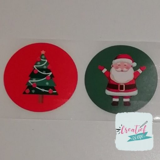 ronde sticker kerstmis