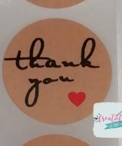 ronde sticker thank you, sluitzegel thank you, kado sticker