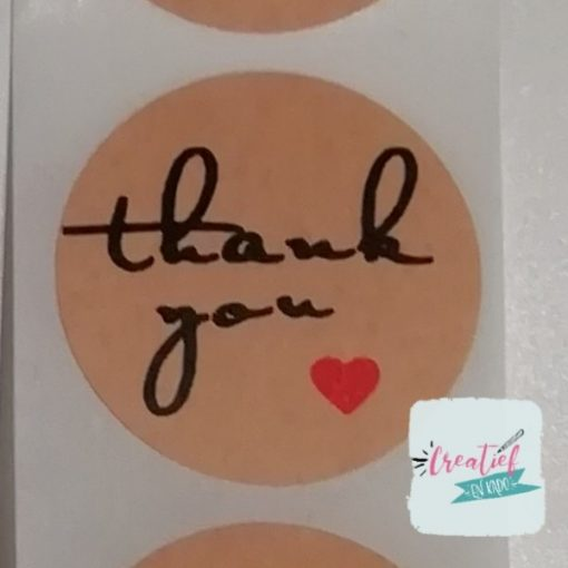 ronde sticker thank you, sluitzegel thank you, kado sticker