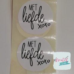 ronde sticker met liefde xxx, sluitzegel met liefde,