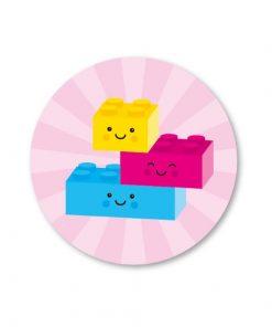 sticker legoblokjes roze, sluitzegel legoblokjes, studio schatkist