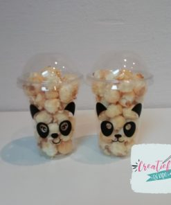 uitdeelbeker panda, traktatie beker panda, traktatie popcorn